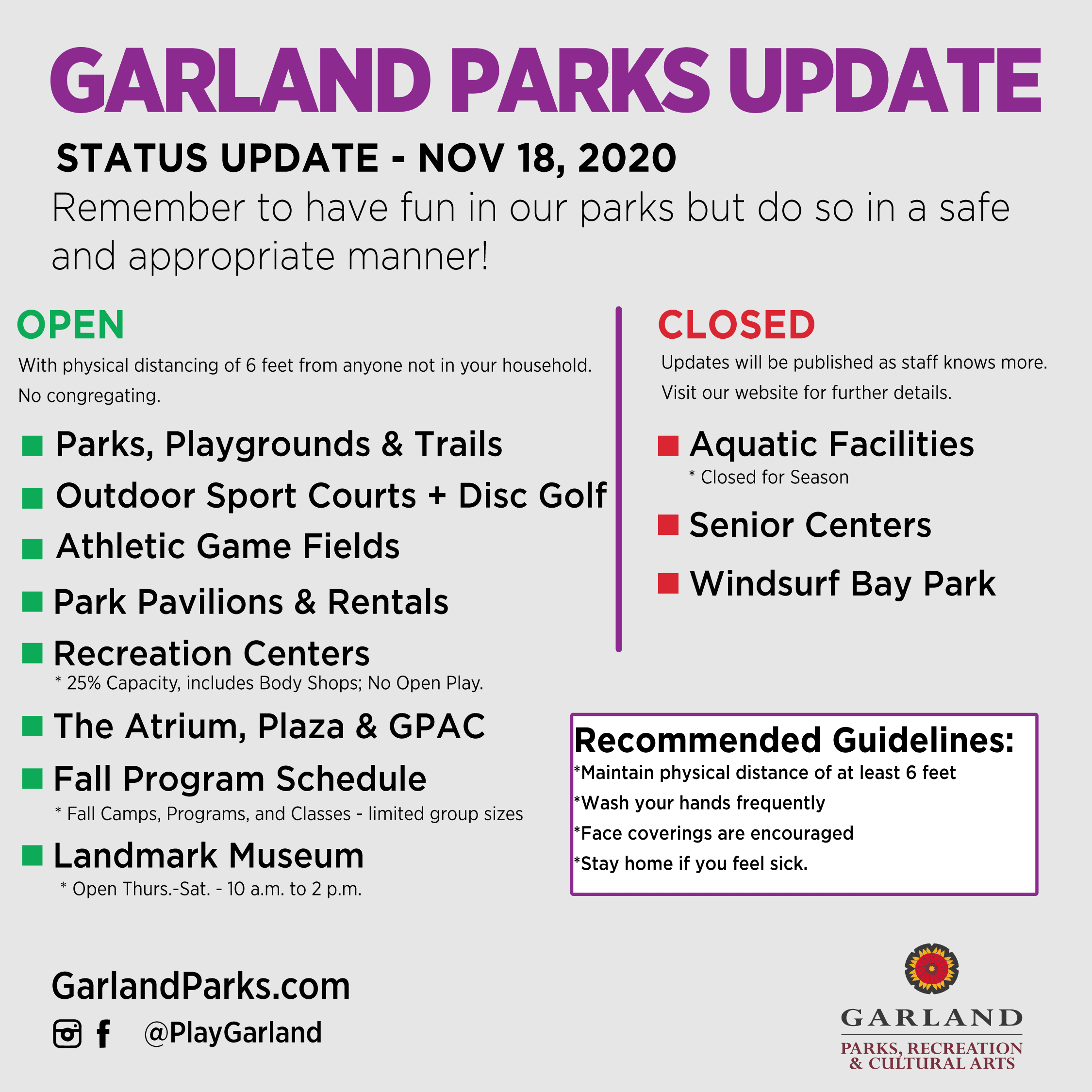 Garland Parks, Recreation, & Cultural Arts System Update as of Nov 18, 2020